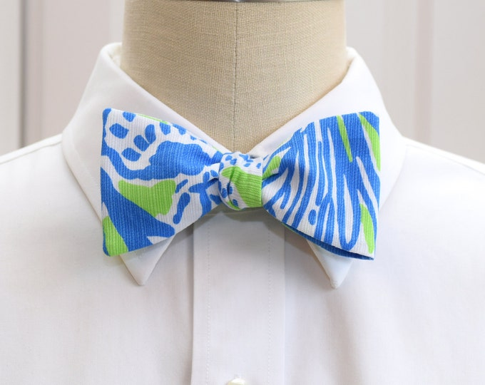Men's Bow Tie, Biggest Fan Lilly print, lime green royal blue bow tie, wedding bow tie, groom bow tie, prom bow tie, coral reef design print