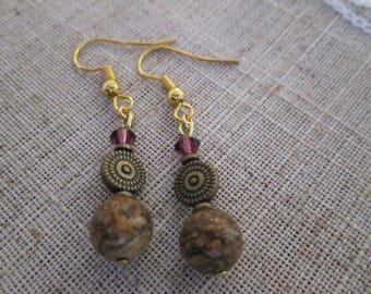 Brown Jasper Bead Earrings