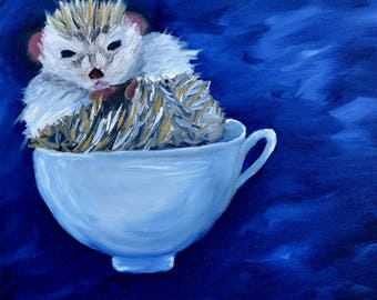 Hedgehog Painting, Hedgehog in a Teacup (Original Oil Painting), Small Painting