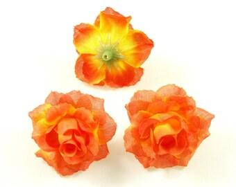 Set of 3 artificial flowers without 4cm stem - orange