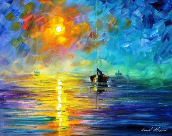 """Misty Calm — Palette Knife Sailboat Nautical Wall Art Oil Painting On Canvas By Leonid Afremov. Size: 24"""" X 20"""" Inches (60 cm x 50 cm)"""
