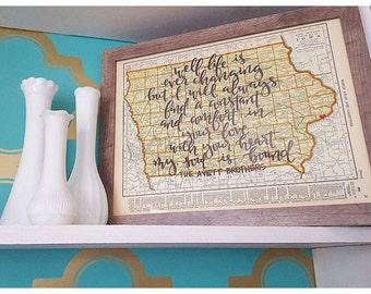Iowa & Kansas | personalized calligraphy map | original vintage map | calligraphy map | custom calligraphy map
