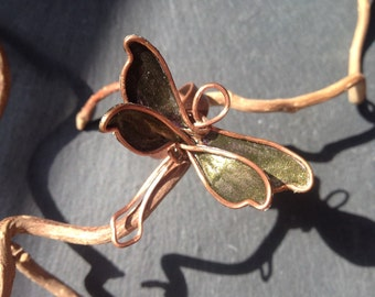 Ring Dragonfly color colour copper scarab wireart unreleased bronze