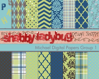 """Michael Digital Paper Collection Group 1: 16 Individual 12x12"""" 300 dpi digital scrapbook papers"""
