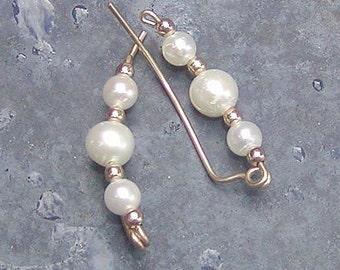 Ear Sweeps - Ear Climbers - Simple Freshwater Pearls Ear Sweeps - Pearl Ear Climbers - June Birthstone - Up The Ears - Trendy Earrings