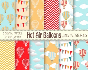 "Hot Air Balloons Digital Paper : ""HOT AIR BALLOONS"" for scrapbooking, invites , cards"
