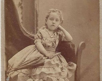 Vintage Young Girl Carte de Visite (CDV) L.W. Felt Photographer, 1800s