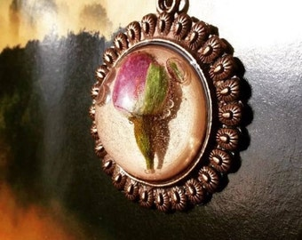 Resin Necklace- Red Bud Rose