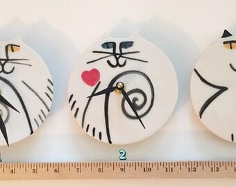 Valentine Gift Cat pottery wall clock: Blue eyed Kitty decor handmade red heart white black whimsical feline design kitty Pet resort art