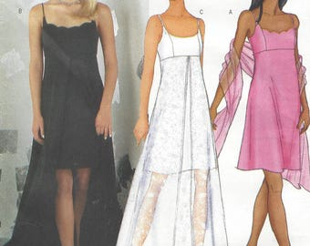 Arianna Womens Evening Gown & Scarf Short with Overskirt Butterick Sewing Pattern 6860 Size 12 14 16 Bust 34 36 38 FF Prom, Bridesmaid