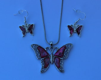 Abalone Pink Paua shell Butterfly Pendent Necklace and Earrings Set