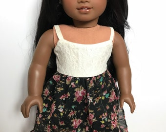 Spaghetti strap floral dress for american girl dolls