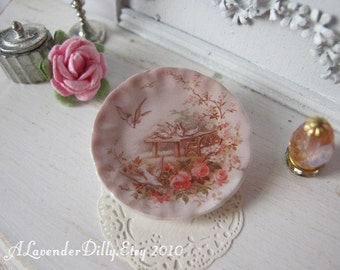 Vintage Doves Plate for Dollhouse