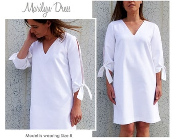 Marilyn Woven A-Line Dress Sewing Pattern - Sizes 10, 12 & 14 - Downloadable PDF Dress Pattern