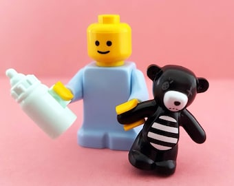 Baby Minifigure with Bottle & Black Teddy Bear Made from LEGO Parts
