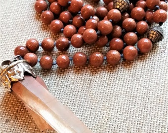 Tibetan Crystal Quartz Point, Knotted Mala, Sun Stone Necklace, Gemstone Pendant Necklace, Knotted Bead Necklace, Boho Beaded Necklace