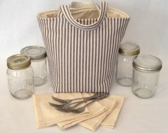 Zero Waste Lunch or Shopping Bag, Ticking, Pint Size, 4 Jar Carrier, Custom Mason Jar Shopping Tote