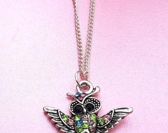 Small owl necklace, silver pendant, rhinestone bird jewellery, owl gift