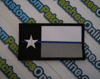 Texas Flag Patch with subdued thin blue line theme