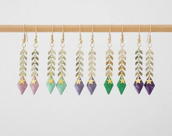 Gold Spike, sequin enamelled diamond and beloque chain dangling earrings Star (BO142OR)