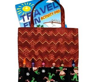 Crayon Holder -  Crayon Tote - Christmas Tote -  Crayon Holder - Activity Pad holder