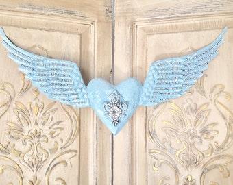 Metal angel wings, teal angel wings, embellished angel wings, angel wing wall decor, Mediterranea Design Studio, angel wings with heart