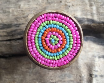 Bohemian Wooden Drawer Knob with Colorful Beads - Beaded Drawer Knob