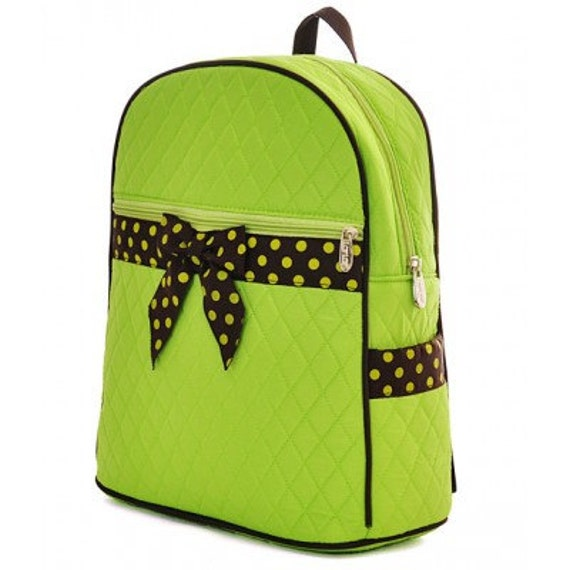 Lime & Brown polka dots Quilted solid backpack. Book bag. Customize. Personalize. Monogram.