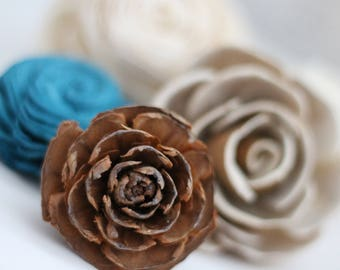 SAMPLE - Rustic Loose Flowers - Wooden Flowers - Rustic Charm Wedding Collection - Teal - Custom Colors - Made to Order