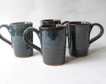 Pottery Mugs Set of 4, Coffee Mugs 12 oz., Set of Handmade Mugs, Stoneware Mugs
