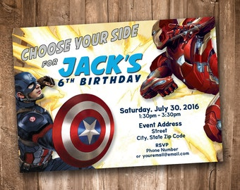 Captain America Civil War Party Invitation *Personalized Digital Printable*