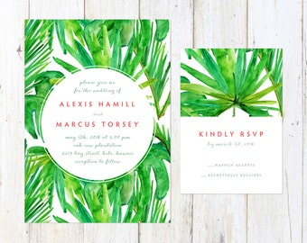 Tropical Wedding Invitation, Destination Wedding Invitation, Palm Trees Wedding Invitation