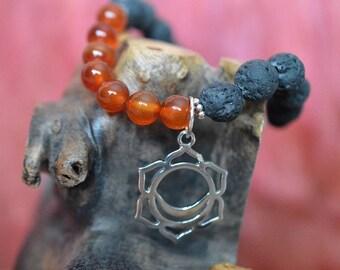 Biolojewelry - Sacral Svadhishthana Chakra Carnelian and Lava Stone Bracelet