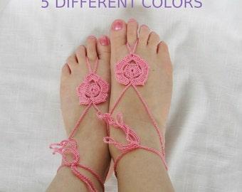 Crochet Flower Barefoot Sandals, 5 Colors,  Boho Sandals, Beach Footwear, Earthing Footwear, Yoga Sandals, Wedding Sandals