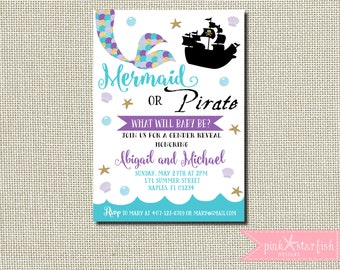 Mermaid and Pirate Invitation, Mermaid and Pirate Gender Reveal, Pirate and Mermaid Invitation, Gender Reveal Invitation, Gender Reveal