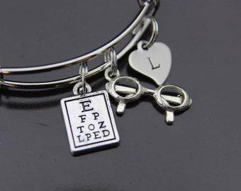 Eye Chart Bangles, Reading Glasses Bracelet, Eye Care Bangles, Glasses Jewelry, Vision Gift, Optometry Gift, Eye Doctor Gift, Optometrist