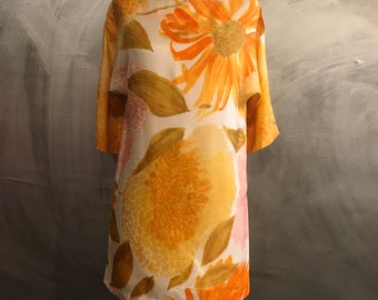 1960s Alfred Shaheen floral tunic/floral mini dress/mod shift dress/-M/L