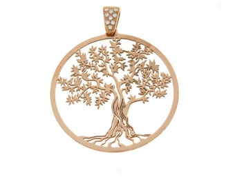 Tree of Life pendant 925 sterling silver rose gold plated hypoallergenic contromaglia rose gold plated diameter mm35