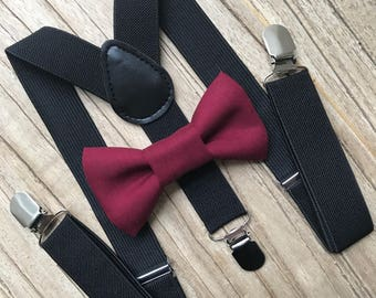 Bowtie & Suspenders- Crimson Bowtie/Black Suspenders/Baby and Toddler Bowties/Birthday/Wedding Party
