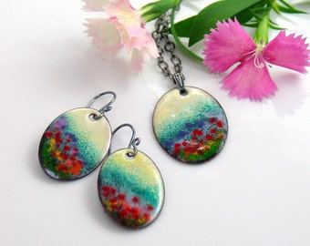 Colorful Jewel Tones Garden Jewelry Set, Flower Meadow Impression, Artisan Original Enameled Set Pendant & Earrings, Vitreous Copper Enamel