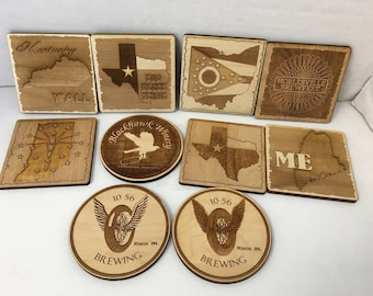 Personalized Wood Coasters |Your State Outline | Custom Logo Coasters | Set of 4