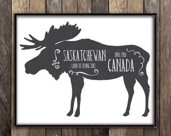 Saskatchewan Moose Decor -  Moose Art Canadian Art - Antlers Hunting Lodge Decor - Made in Canada  - Ships from Canada - Saskatoon Poster