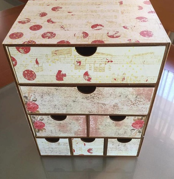 Makeup Organizer Wood jewelry drawers Chest of drawers Storage