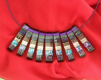 Multi-piece Fused Dichroic Glass Necklace