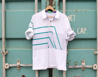 Vintage Striped Polo / Short Sleeve Athleisure Shirt / 90's GRAND SLAM by MUNSINGWEAR / Large