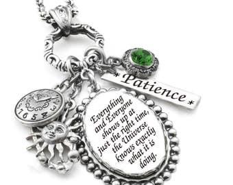 Charm Necklace, Inspirational Glass Pendant, Silver Inspirational Quote Jewelry, Inspiring Necklace, Life's Journey