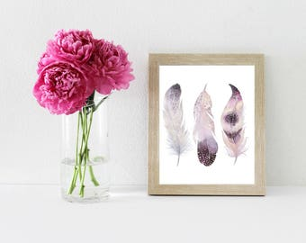 Feather Printable, Feathers, Printable Art, Feather Digital Print, Bohemian Feather, Feather Print, Feather Watercolor, Instant Download