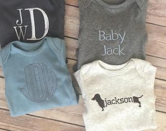 Custom infant bodysuit set, personalize, monogram