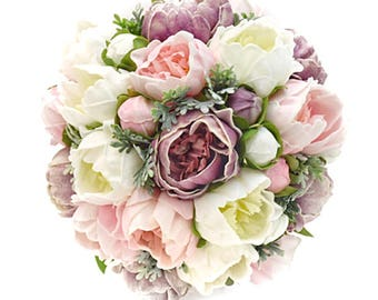 Stemple's Gatherings - A grouping of Real Touch Artificial Mixed Peonies with Dusty Miller - Dropped in a vase or as a wedding bouquet