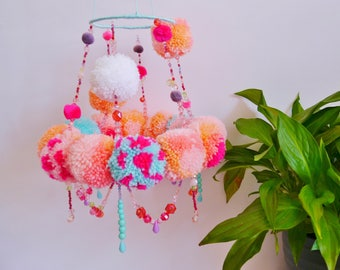 Pom Pom Chandelier/ Mobile in Pink and Turquoise
